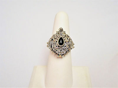 sterling silver 925  Poison medieval vintage natural Onyx ring W/ Hidden Box Sz6