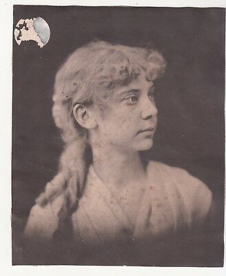 Black & White Portrait of Lady w Matted Hair No Advertising Vict Card c1880s