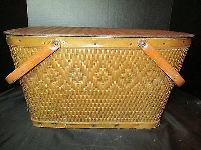 "Antique Picnic Basket with Metal Handle 18 1/4"" Long"
