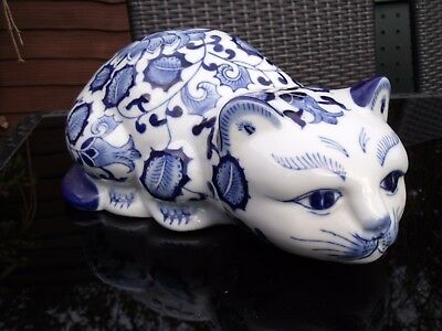 Large Chinese/Asian Blue and White Porcelain Crouching Cat ~ Lucky Cat Figurine.
