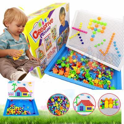 Children Puzzle Peg Board With 296 Pegs For Kids Early Educational Toy DIY Gifts