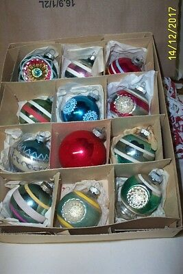 Lot Of 12  Vintage Shiny Brite Glass Xmas Tree Ornaments Striped, Indents Etc..
