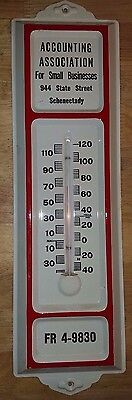 """Vintage ACCOUNTING ASSOCIATION Embossed Tin Thermometer 12"""" SCHENECTADY NY"""