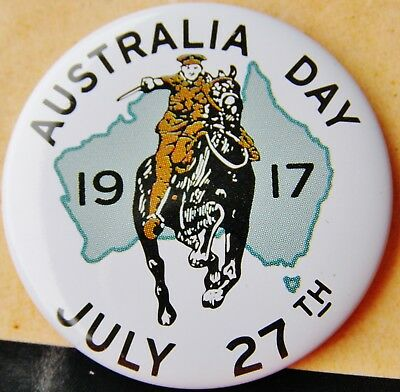 "1917 Button Badge "" Australia Day 27th July, 1917 """