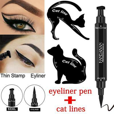 3Pcs 2in1 Dual-ended Liquid Eyeliner Pen+Stamp Seal Cat Eyeshadow Template Card