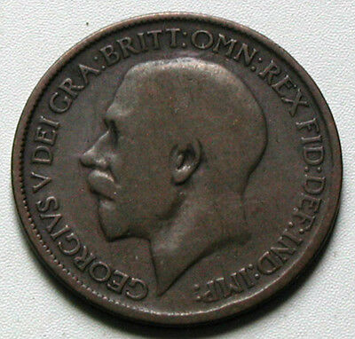UK (Great Britain) 1919 HALF PENNY King George V Coin