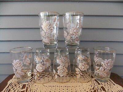 Set of 7 Vintage Libbey Clear Glass Tumblers with Rose Bouquet Pattern Gold Rim