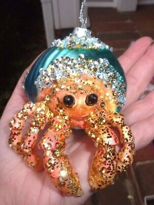 New December Diamonds Blown Glass Hermit Crab Nautical Christmas Ornament
