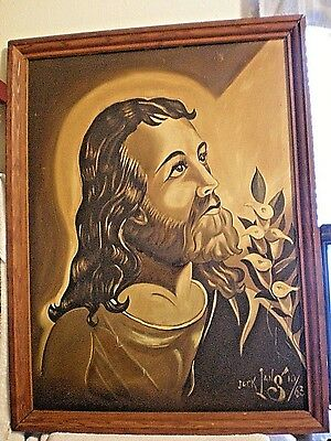genuine signed oil painting vintage antique Jesus by Jack Iang or Lang 29X22 in