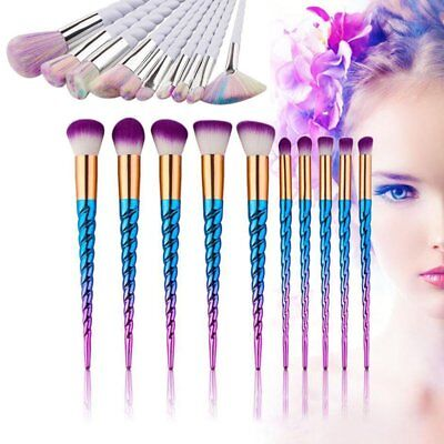 10pcs Pro Unicorn Face Eyeliner Brush Thread Cosmetic Make Up Brushes Flat Sets