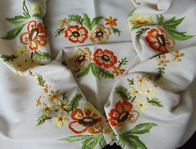 Vintage Unused Hand Embroidered Autumn Floral Cotton & Linen Blend Tablecloth