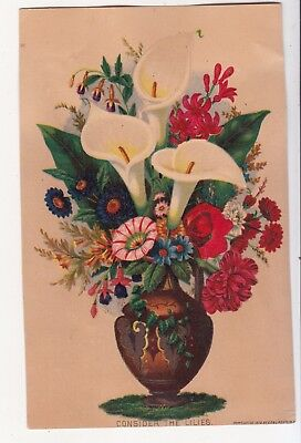 White & Red Flowers in Vase CONSIDER LILIES No Advertising Vict Card c 1880s
