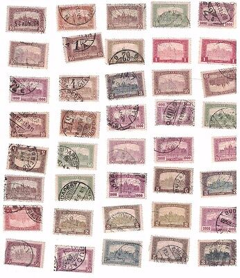 old Hungary  Lot of 40 stamps Used Parliament Building Postmarks some rare 1920s