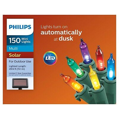 new philips 150ct christmas solar powered led mini string lights multicolored