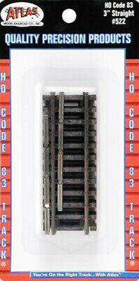 "Atlas 522 HO Scale Code 83 3"" Straight Track Sections w/Nickel Silver Rail (4)"