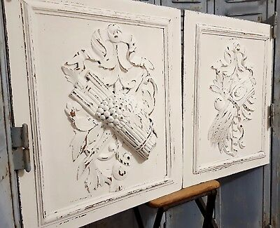 Shabby Carved Wood Panel Matched Pair Antique French Farmhouse Country Carving