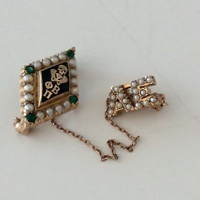 14 K Gold Phi Beta Pi Medical Pledge Pin Fraternity Emeralds Seed Pearls 4.4 gr