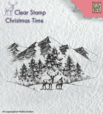 Nellie Snellen/Clear/Winter/Landscape/with Deer/Christmas/UNMOUNTED/stamp/CT018