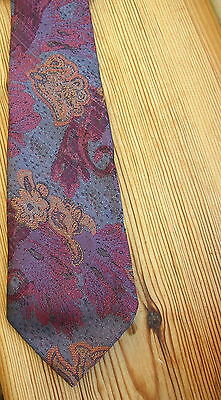 Vtg 1970s Abstract floral interwoven mens neck tie Blue pink gold purple 70s