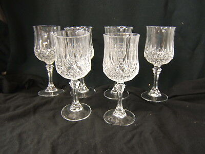 Lot of 6 Longchamp Cristal d'Arques Lead Crystal Wine/Water Glasses MIB