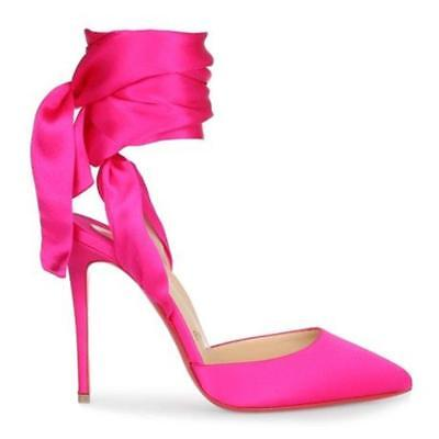 meet fa44a 61268 CHRISTIAN LOUBOUTIN DOUCE DU DESERT Satin Ankle Tie Bow Heels Pumps Shoes  $895