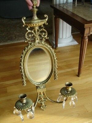 Vintage Neoclassic Brass Mirror Candle Sconce with Crystal Drops