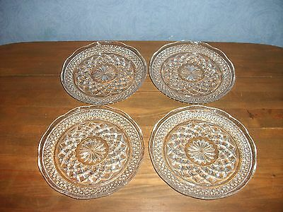 """Vtg. 4- Wexford Pattern 6"""" Saucers by Anchor Hocking"""