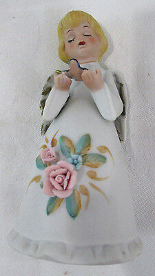 Vintage Angle Homco Bell Bird Blue White Floral Wings