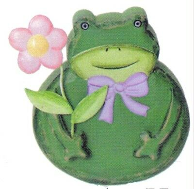 Wood Frog Pink Metal Flower country primitive frogs ornament sign plaque decor