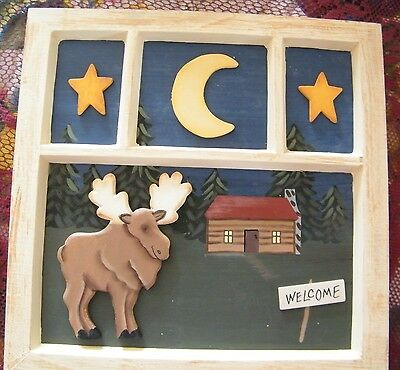 window  look 3 dimension Moose cabin lodge welcome country primitive decor sign