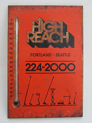 Vintage Advertising High Reach Thermometer Sign Portland Seattle Heavy Equipment