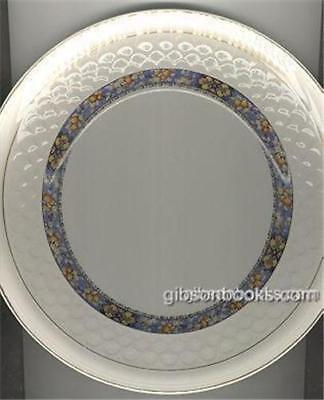 Vintage Johnson Bros China Dinner Plate with Blue Border with Orange
