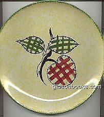 Vintage Blue Ridge Pottery Bright Yellow Plaid Fruit Dinner Plate