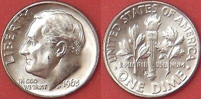 Brilliant Uncirculated 1963D US Roosevelt Silver 10 Cents From Mint's Roll