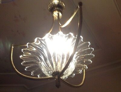 Vintage Glass And Brass Chandelier