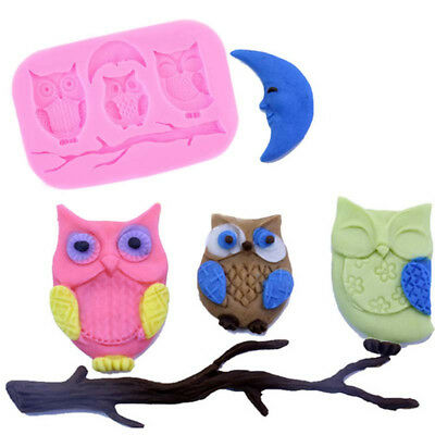 Owl Branch Moon Silicone Mould Chocolate Cake Baking Tool Fondant Decor Tool New