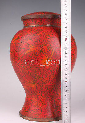 Cloisonne Jar Pot Box Red Maple Leaf Has Collection Value Collectable Old