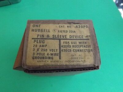 1 New Old Stock HUBBELL 420P9 Pin & Sleeve Device For 420R9 Receptacle
