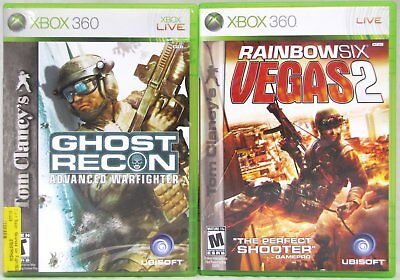 Tom Clancy's Rainbow Six Vegas 2 / Ghost Recon Xbox 360 Video Game Lot of 2