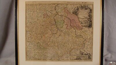 Antique 1720 Johann Baptiste Homann Lower Germany Colored Engraved Map