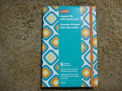 STAPLES Coupon File With Memo Pad 6 pockets Free Shipping Blue Green
