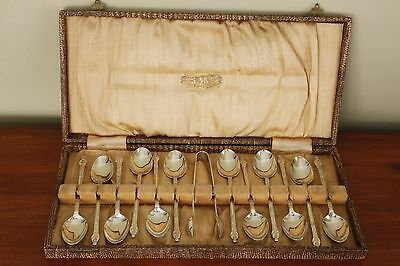 Apostle monk SET of 12 EPNS England COFFEE demitasse SPOONS + SUGAR TONGS IN BOX