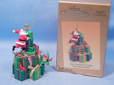 The Opening Game - 2005 Hallmark Club Ornament - Santa & Presents