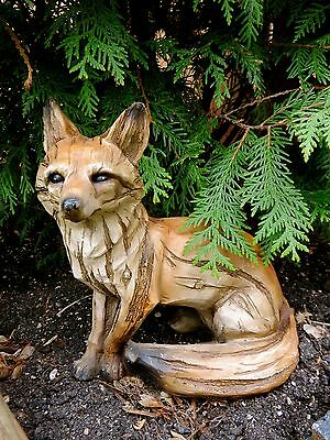 """FOX SITTING FIGURINE  resin animal Statue COUNTRYSIDE SMART SLY RED NEW FOX 8.5"""""""