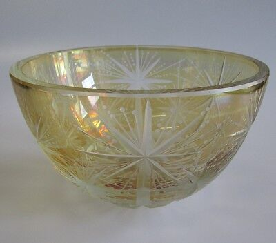 A Vintage Signed Amber Cut to Clear Crystal Art Glass Bowl Star Pattern