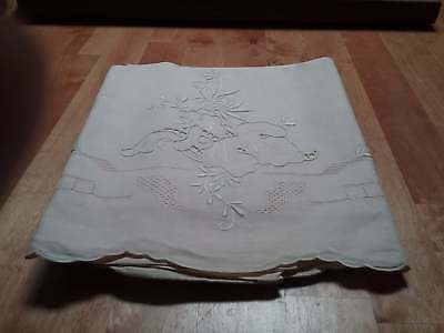 "Set Two Gorgeous Vintage Irish Linen Genuine Hand Made Pillowcases 20x32"" Pink"