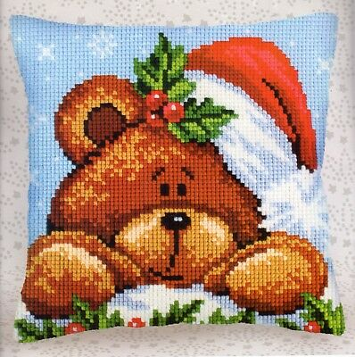 Holly Teddy Bear Large Hole Tapestry Canvas Cda Cross Stitch Cushion Front Kit