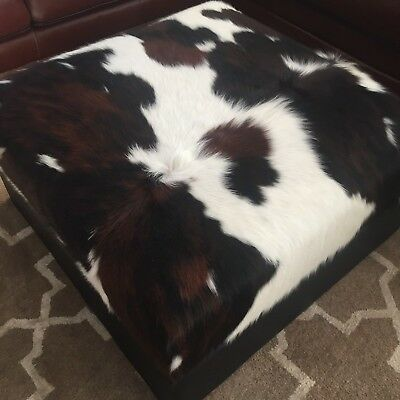 REAL Cowhide Storage Ottoman Bench Coffee Table Footstool Tricolor Brindle  Hair