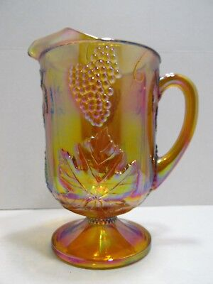 Indiana Carnival Glass Pitcher Marigold Harvest Grape 64 Oz Amber Gold Beverage