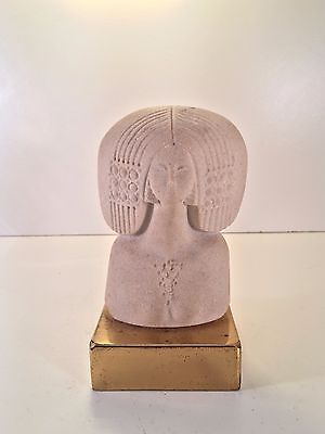 Marbell 1970's Art Deco Style Stone Sculpture Nude Woman On Brass Base Belgium